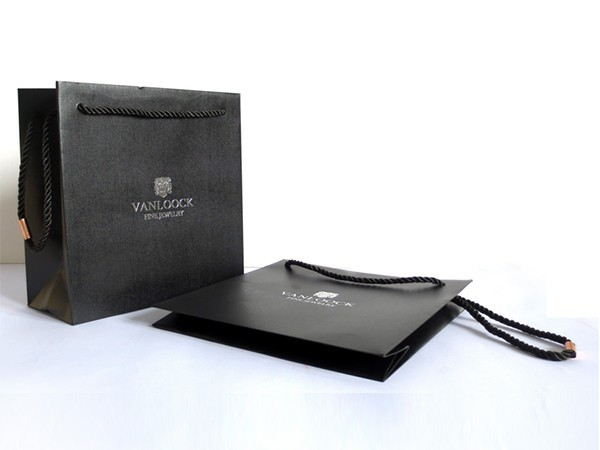 Black Special Paper Bag with PU Handle