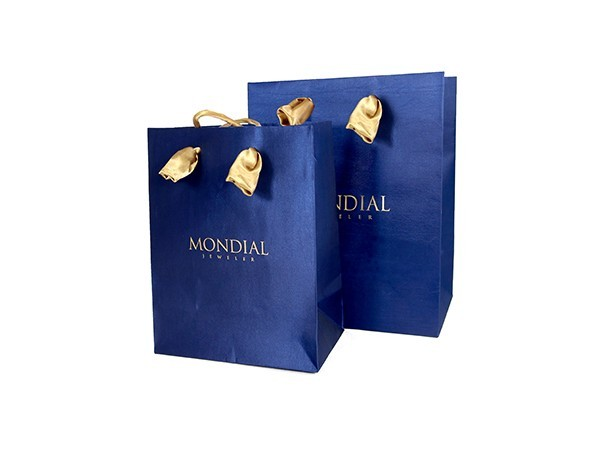 Blue Silk Cloth Paper Bag  with Fabric Sewed Handles