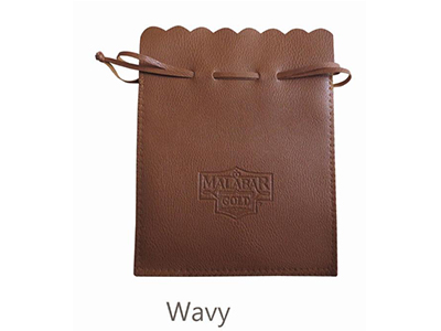 Brown PU Pouch with String