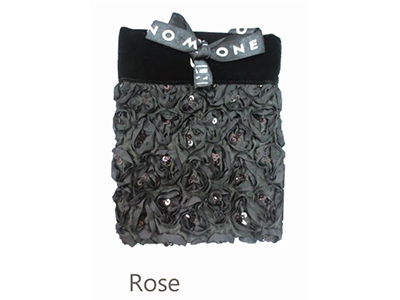 Black Pouch With Rose Decoration
