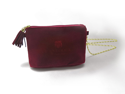 Mini Velvet Pouch with Single Metal Chain