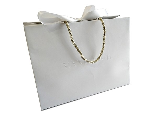 White Card Paper Bag with Ribbon